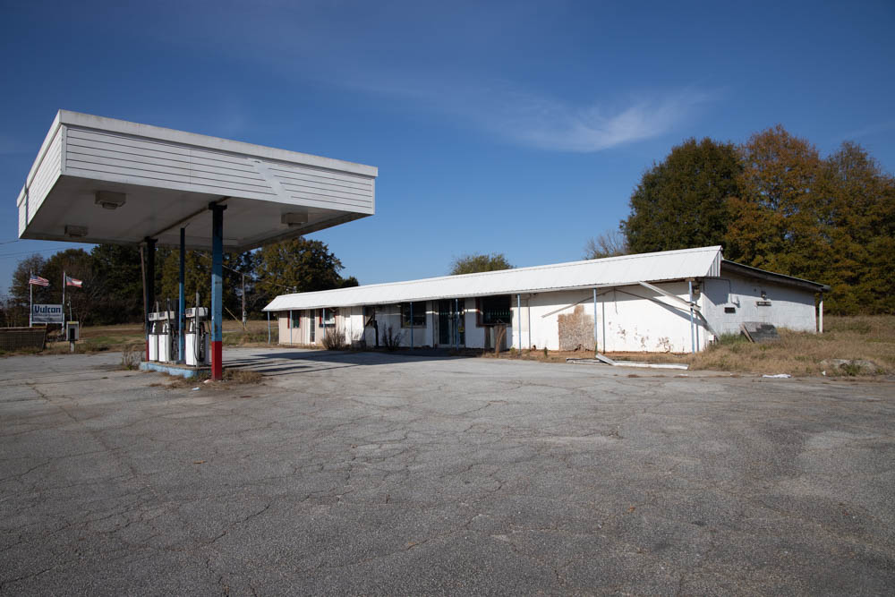 This generic gas station sits in Aragon, GA, which is a small city in Polk County, GA. I am not sure which fuel they offered, but it might have been a Chevron Station based on the coloring.