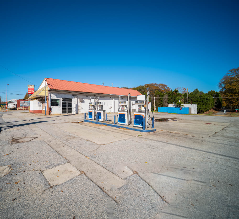 The pumps are all that remain of the Gulf station that used to be here just down the street from Hine's Grocery