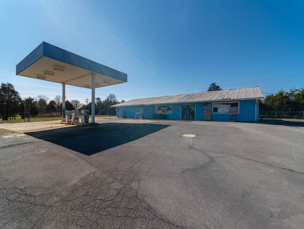 This old Chevron station sits in Chickamauga, GA in Walker County. On the far side of the building, not seen here, is an old Silver Trams-Am that is wrecked. I guess the car and the building are going to return to dust together.