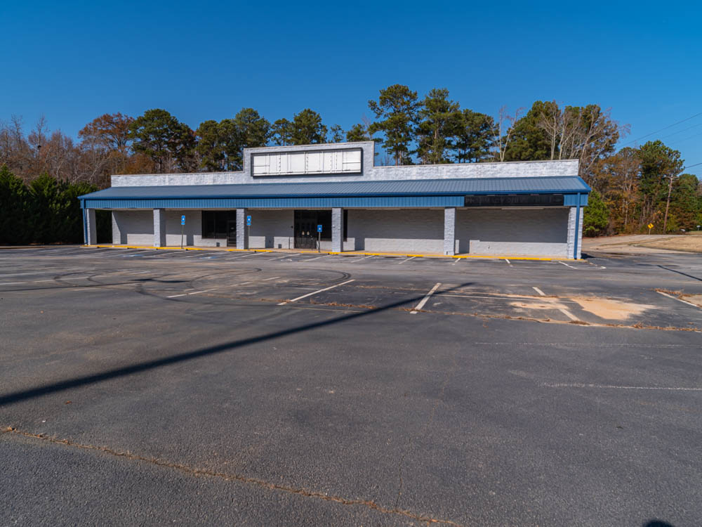 Abandoned Rite Aid pharmacy in Fairburn, GA in Fulton County.