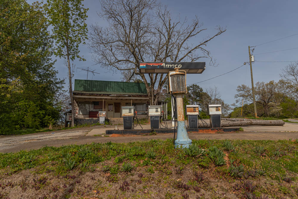 I captured this abandoned Amoco station in Ball Ground, Ga. This gas station/general store combo was open from 1912 to 2012 before it closed. I believe they stopped selling fuel well before 2012 as the prices were not that low in 2012.